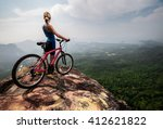 young lady with bicycle... | Shutterstock . vector #412621822