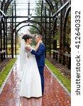 couple standing in the rain on...   Shutterstock . vector #412640332