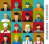 set of 16 men job icons in flat ... | Shutterstock .eps vector #412643302