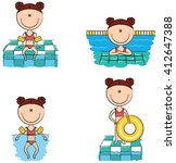 cute vector girls swimming and... | Shutterstock .eps vector #412647388
