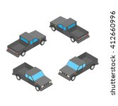 isometric double cab pickup... | Shutterstock .eps vector #412660996