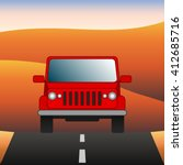 red car on the road suv rides... | Shutterstock .eps vector #412685716
