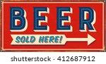 Vintage Metal Sign   Beer Sold...