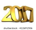 golden 2017 year figures leaned ... | Shutterstock . vector #412691506
