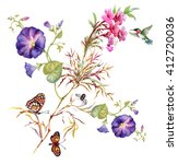 Watercolor Summer garden blooming Bind Weed buds flowers with Spring butterflies on tree twig pattern on white background