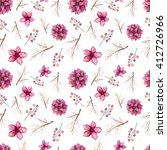 watercolor deep pink flowers ... | Shutterstock . vector #412726966