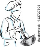 woman master chef illustration | Shutterstock .eps vector #412727506