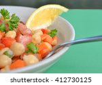 closeup on garbanzo bean salad...