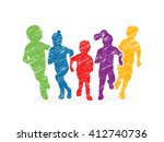 Group of children running, Front view designed using colorful grunge brush graphic vector. | Shutterstock vector #412740736