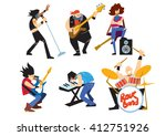 musicians rock group isolated... | Shutterstock . vector #412751926