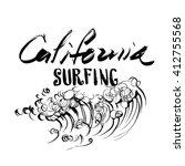 california surfing lettering... | Shutterstock .eps vector #412755568