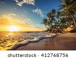 palm trees on the tropical... | Shutterstock . vector #412768756