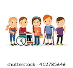 Special needs children with friends, friends and handicapped children. Vector illustration | Shutterstock vector #412785646
