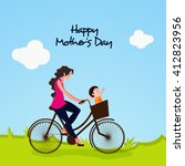 young woman riding a bicycle...   Shutterstock .eps vector #412823956