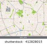 vector color map of milan ... | Shutterstock .eps vector #412828015