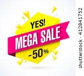 mega sale poster  banner.... | Shutterstock .eps vector #412841752