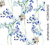 seamless pattern with blue wild ...   Shutterstock . vector #412843642