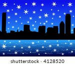 Boston Skyline in winter with falling snow illustration