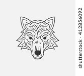 wolf head line illustration | Shutterstock .eps vector #412856092