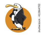 funny butler waiter penguin... | Shutterstock .eps vector #412864702