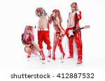 music band in original costumes ... | Shutterstock . vector #412887532