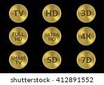 golden tv format labels. tv hd...   Shutterstock .eps vector #412891552