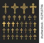 Cross Icons Set. Decorated...