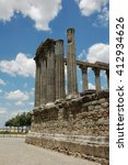 Small photo of Ruins of an ancient Roman Temple in Evora, Portugal
