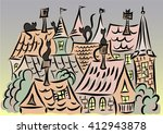 cats on the roofs  town...   Shutterstock .eps vector #412943878