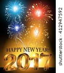 2017 happy new year background... | Shutterstock .eps vector #412947592