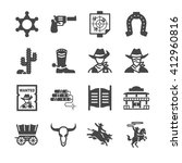 cowboy icons | Shutterstock .eps vector #412960816