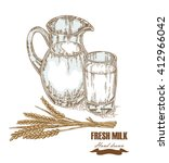 hand drawn jug and glass of... | Shutterstock . vector #412966042