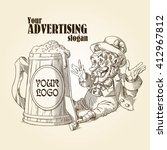 happy leprechaun and big mug of ...   Shutterstock .eps vector #412967812