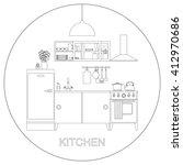 kitchen with furniture.raster... | Shutterstock . vector #412970686