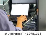 asian man working on his... | Shutterstock . vector #412981315