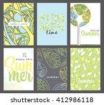 set of artistic creative summer ... | Shutterstock .eps vector #412986118
