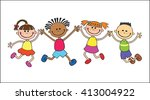 children  isolated  look up... | Shutterstock .eps vector #413004922