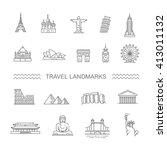 travel landmarks line icon set | Shutterstock .eps vector #413011132