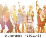 teenagers friends beach party... | Shutterstock . vector #413011486