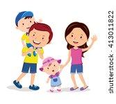 family bonding time. happy...   Shutterstock .eps vector #413011822