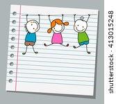 notebook paper happy kids...   Shutterstock .eps vector #413015248