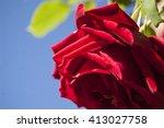 macro red rose petal | Shutterstock . vector #413027758