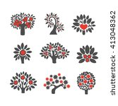 tree logo illustration icon set.... | Shutterstock .eps vector #413048362