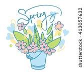 spring bouquet | Shutterstock .eps vector #413057632