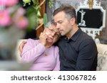 Distressed Elderly Lady Leanin...