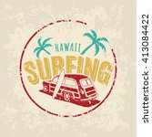 vintage surfing car logo on... | Shutterstock .eps vector #413084422