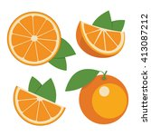 oranges . collection of whole... | Shutterstock .eps vector #413087212