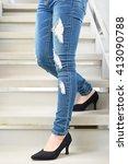 female feet | Shutterstock . vector #413090788