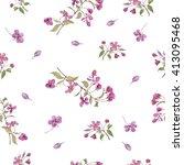 realistic sakura japan cherry... | Shutterstock . vector #413095468