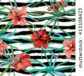 tropical exotic stripes... | Shutterstock . vector #413108425